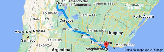 Mapa de San Fernando del Valle de Catamarca, Catamarca a Magdalena, Buenos Aires